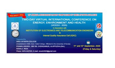 TWO DAY VIRTUAL INTERNATIONAL CONFERENCE ON ENERGY ENVIRONMENT & HEALTH - 11TH 12TH SEPT 2020